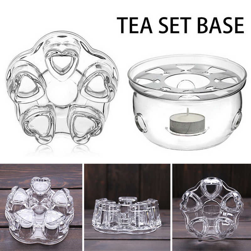 Portable Clear Teapot Holder Base Coffee Water Tea Warmer Candle Holder Glass Heat-Resisting Teapot Warmer Insulation Base