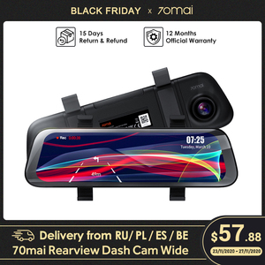 70mai Rearview Dash Cam Wide 1080P Auto Cam 130 FOV 9.35 Inch Full Screen 70mai Mirror Car Recorder Stream Media Car DVR