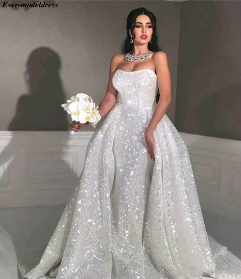 Shiny Over skirt Arabic Wedding Dresses 2019 Sweetheart Lace Up Back Sweep Train Bridal Gown Bride Dress Vestido de noiva