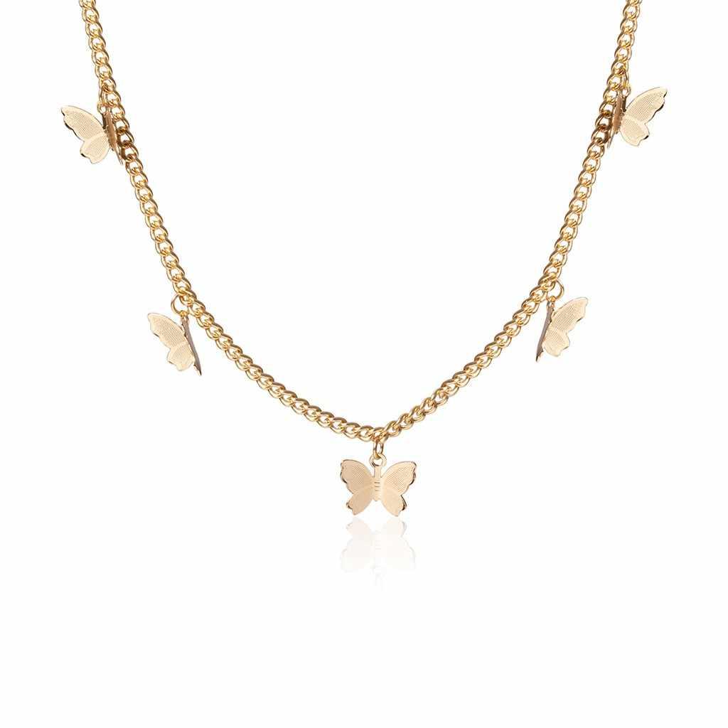 שרשרת נשים תכשיטי שרשרת שרשרת זהב קולר ארוך אופנה מתכת סגסוגת פרפר תליון כסף הצהרת שרשראות מתנה