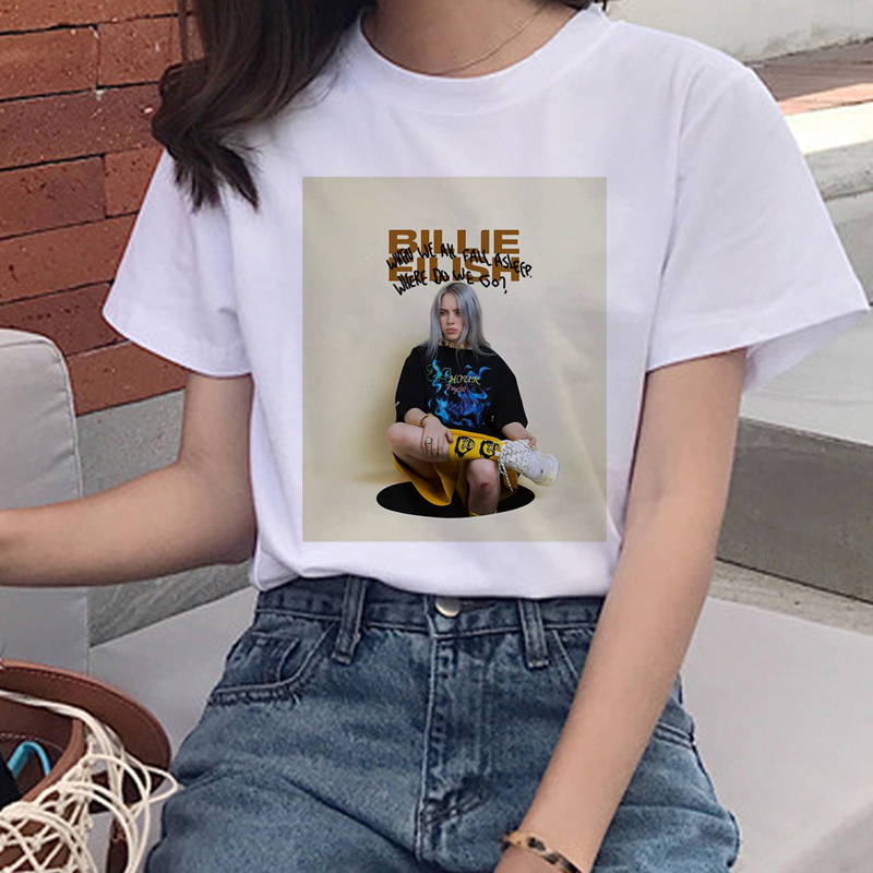Women I Am A Bad Guy Graphic T-shirt Aesthetic Funny Cartoon Tshirt 90s Top Tees Female Billie Eilish Harajuku T Shirt