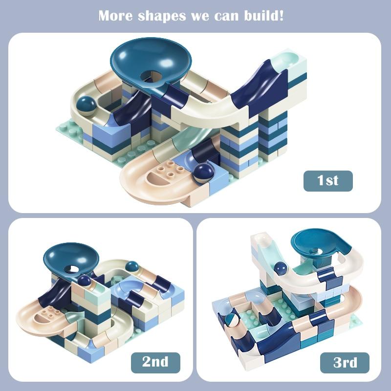 New 80 Pcs Marble Race Run Building Block Compatible Legoingly Duplo Constructor Bricks Educational Toys For Children Kids