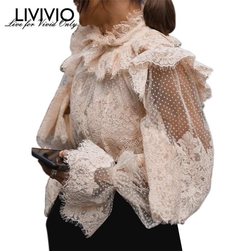 [LIVIVIO] Lace Floral Polka Dot Ruffled Lantern Long Sleeve Stand Neck Sheer Blouse Women Shirt Vintage 2019 Autumn New Fashion