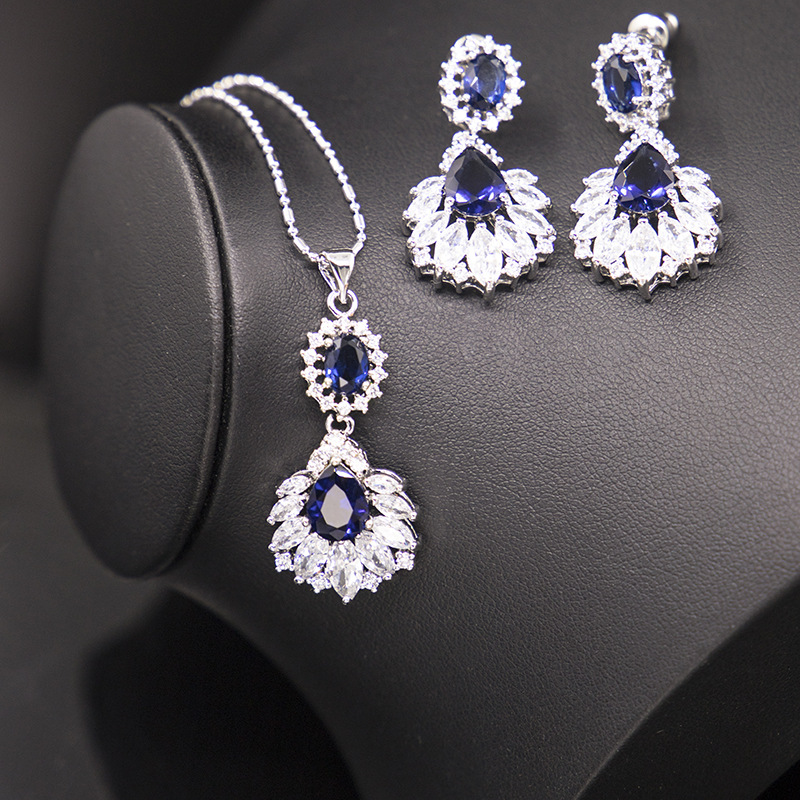 Zircon-Set Jewelry-Set Evening-Accessories Bridal American-Style European And Extra-Flashy