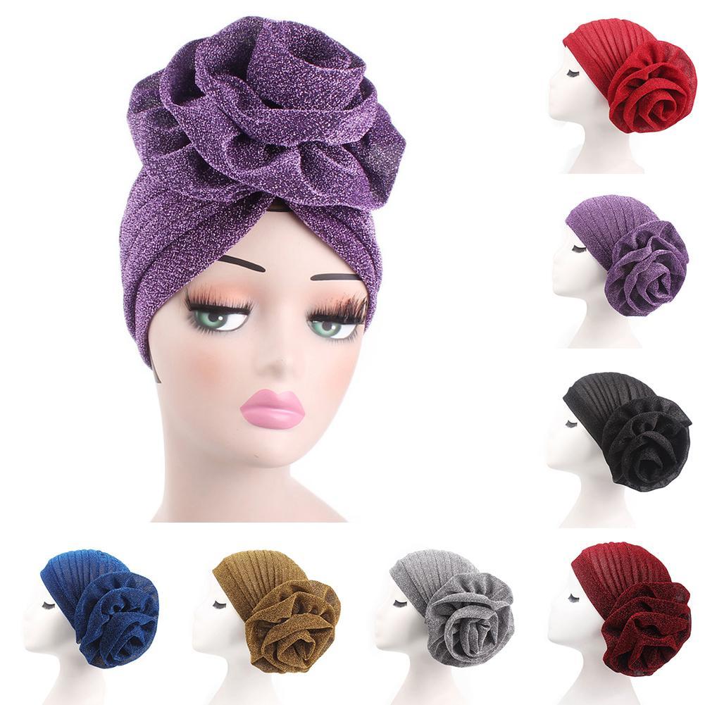Muslim Hat Fashion Big Flower Glitter Turban Hat Muslim Indian Cap Women Head Wrap Headwear Solid Color Women's Hat Breathable