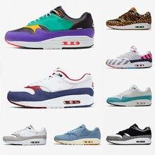 Zapatillas deportivas clásicas para hombre y mujer, zapatos informales de animales, 1 87 DLX Air ATMOS, 1s parra Leopard gra