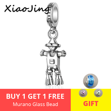 XiaoJing 100% 925 Sterling Silver scarecrow Beads Charms Fit original Pandora bracelets diy fashion Jewelry free shipping 2019