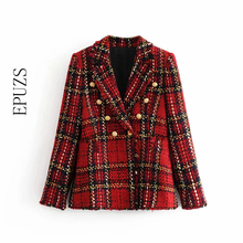 women red plaid blazers 2019 winterb vintage jackets female patchwork Tweed blaz