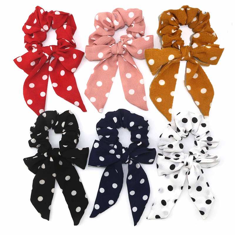 Sweet Dot Scrunchies Streamers Elastic Bow Knotted Hair Ring Girls Women Ponytail Holder Hair Ties Rubber Bands Hair Accessories