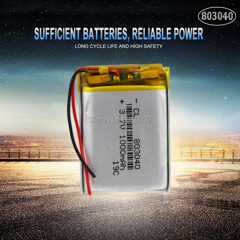 1pc <font><b>3.7V</b></font> <font><b>1000mAh</b></font> 803040 Li-Po ion Rechargeable <font><b>battery</b></font> for GPS PSP mp3 mp4 mp5 Bluetooth speaker sound mobile Pocket image