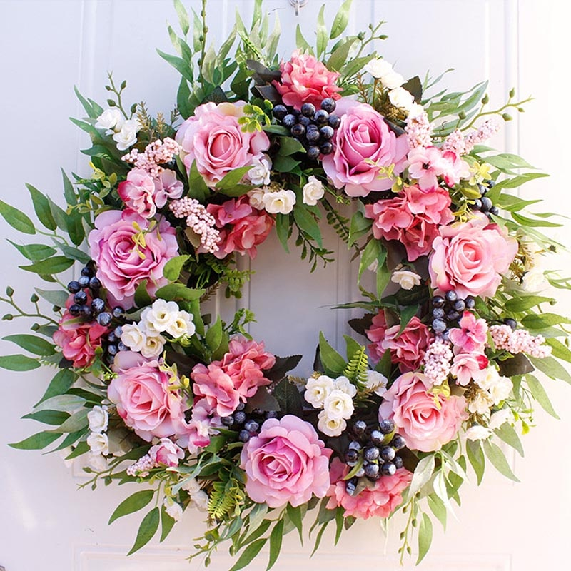 Artificial Flower Wreath - 22 inch Spring Round Artificial Rose Garland For Wedding Decoration Home Wall Party Hanging Decor