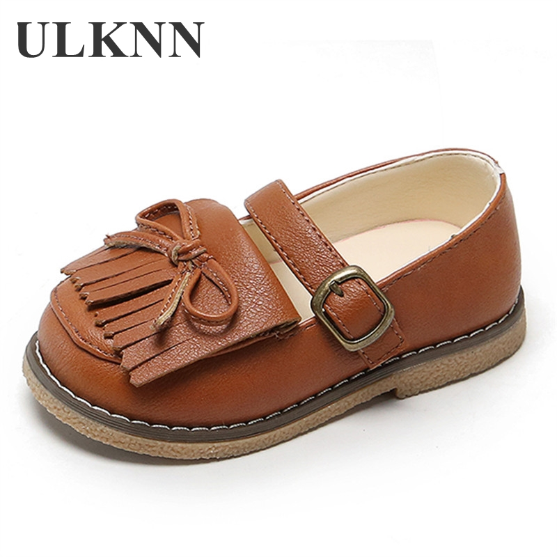 ULKNN Girls Tassel Flat Shoes New Tiny Black Casual Children Soft Princess Baby Bow White Buckle Comfortable Fashion Brown 21-30
