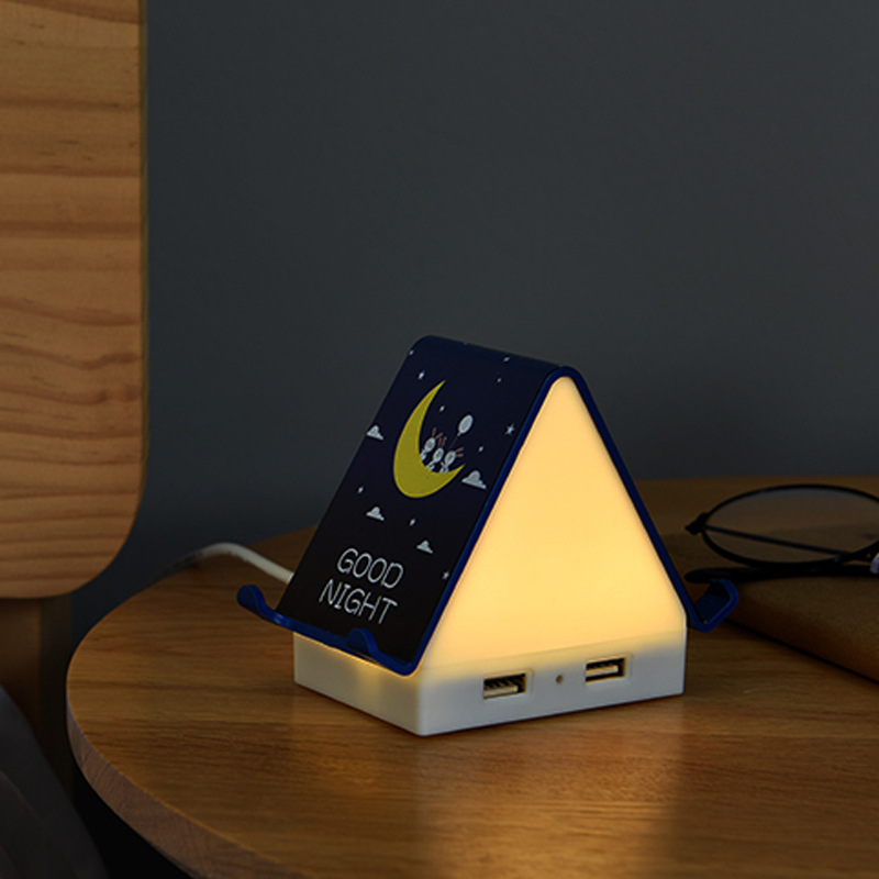 LED Chalet Night Light USB Power Multi-function Port Cartoon Bedside Lights For Bedroom Living Room Lighting Decor