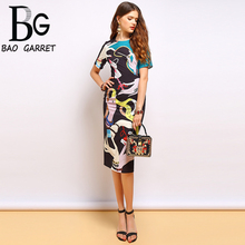 Baogarret Fashion Summer Dress Womens Beading Sequined Finger Printed Back split Elegant Vintage Ladies Vacation Dresses