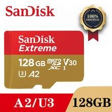 بطاقة ذاكرة SanDisk Extreme سعة 128 جيجا بايت و64 جيجا بايت و32 جيجا بايت microSDHC SDXC UHS-I بطاقة ذاكرة مايكرو SD بطاقة TF 100 برميل/الثانية فئة 10 U3 مع محول SD