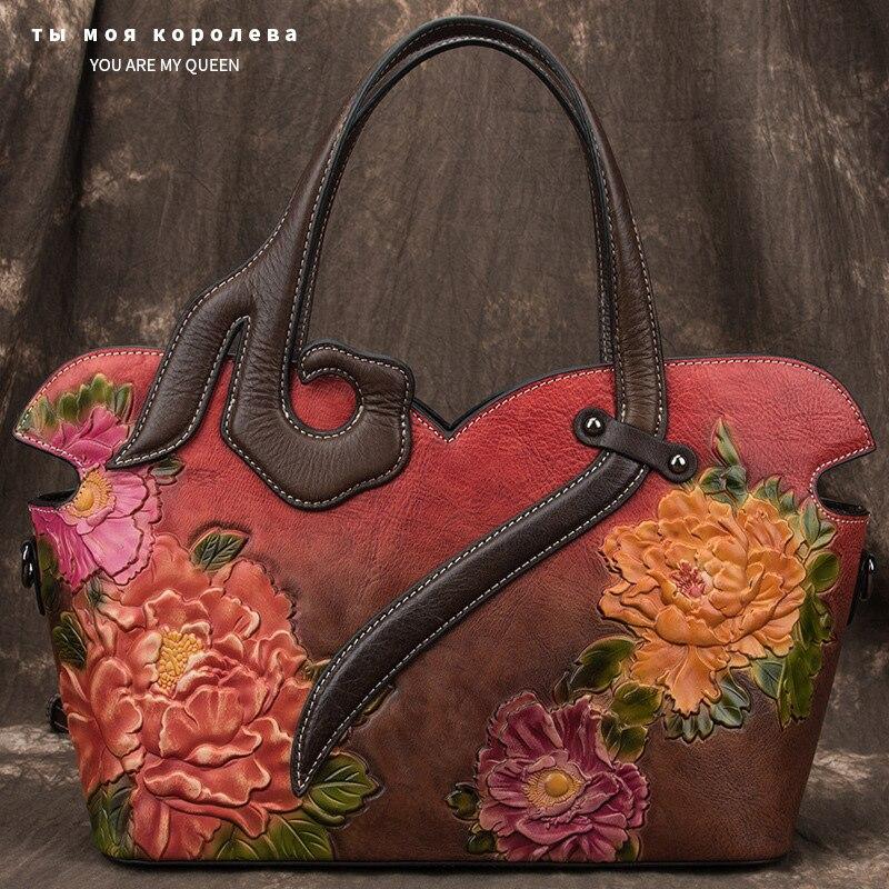 Luxury Brand Genuine Leather Women Leather Casual Totes Handbag Shoulder Crossbody Bag Ladies Large Capacity Purse 2020