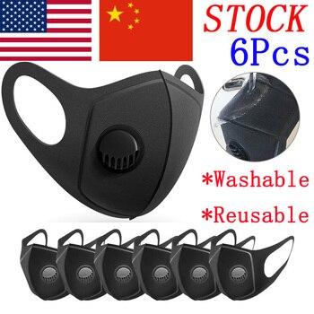 Mask Reusable 6Pcs Sponge Protect Mouth Mask Breathing Valve Filter Unisex Washable Dust Masks Prevent Flu Saliva Respirator