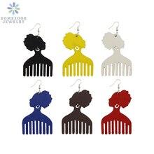 Jewelry Comb Drop-Earrings Afro African Gift Dangle Bohemian Woman Ethinc SOMESOOR Wood