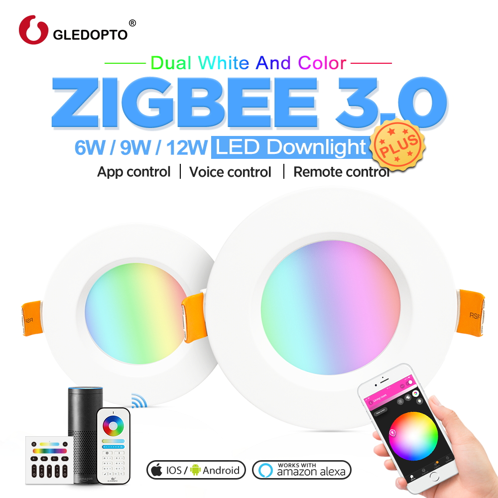 GLEDOPTO Zigbee Smart Downlight Plus RGB+CCT 6W/9W/12W Light  Work With Zigbee Hub, Echo Voice Control Wall Switch Remote  LED