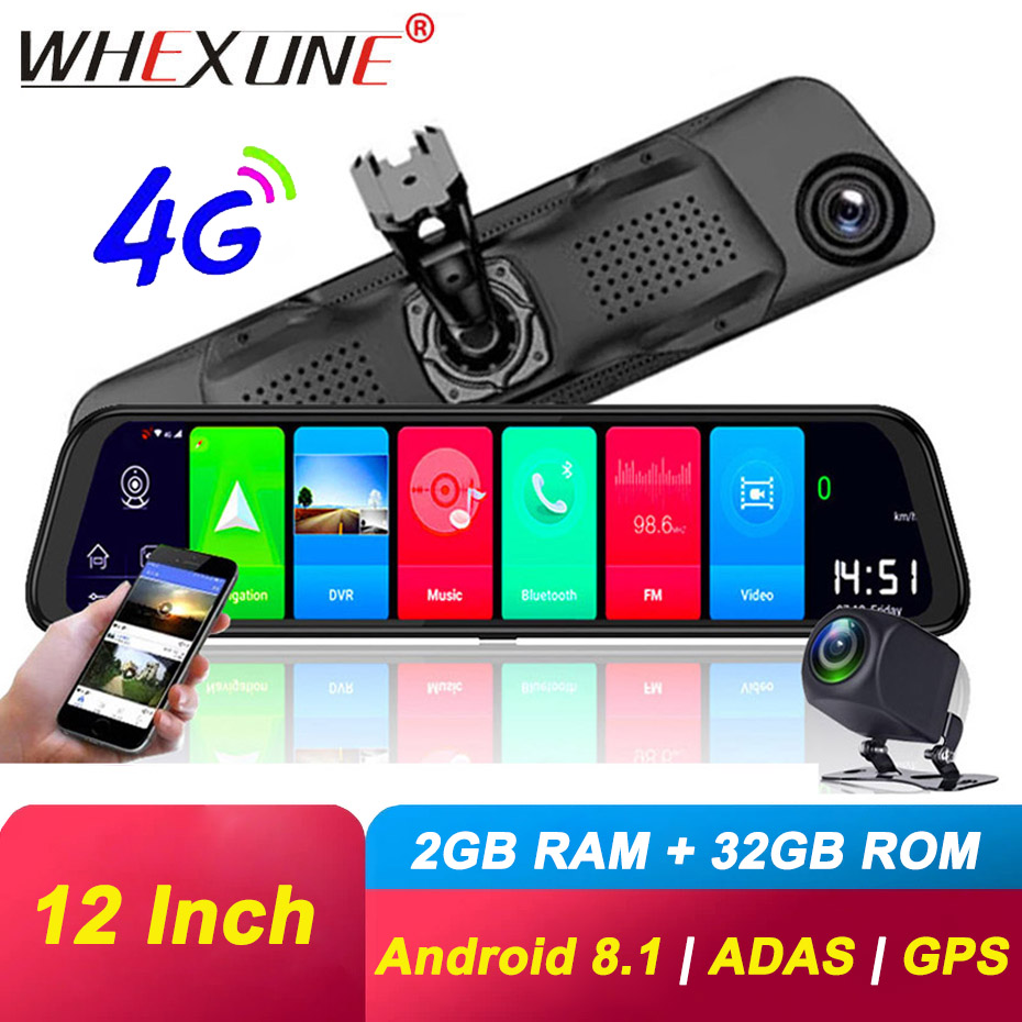 WHEXUNE 12 inch 4G Car DVRs ADAS Android 8.1 Dash Cam Camera GPS Navigation FHD 1080P Dual Lens Video Recorder Registrar Dashcam