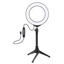 Photography 6.2in 160mm/4.7in 120mm 10 Modes 8 Colors RGBW LED Round Vlogging Lamp Video Lights + Desktop Stand Tripod BallHead