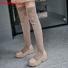 Over-The-Knee-Boots Krazing-Pot High-Heels Thick Winter Genuine-Leather Slip-On L80 Bottom
