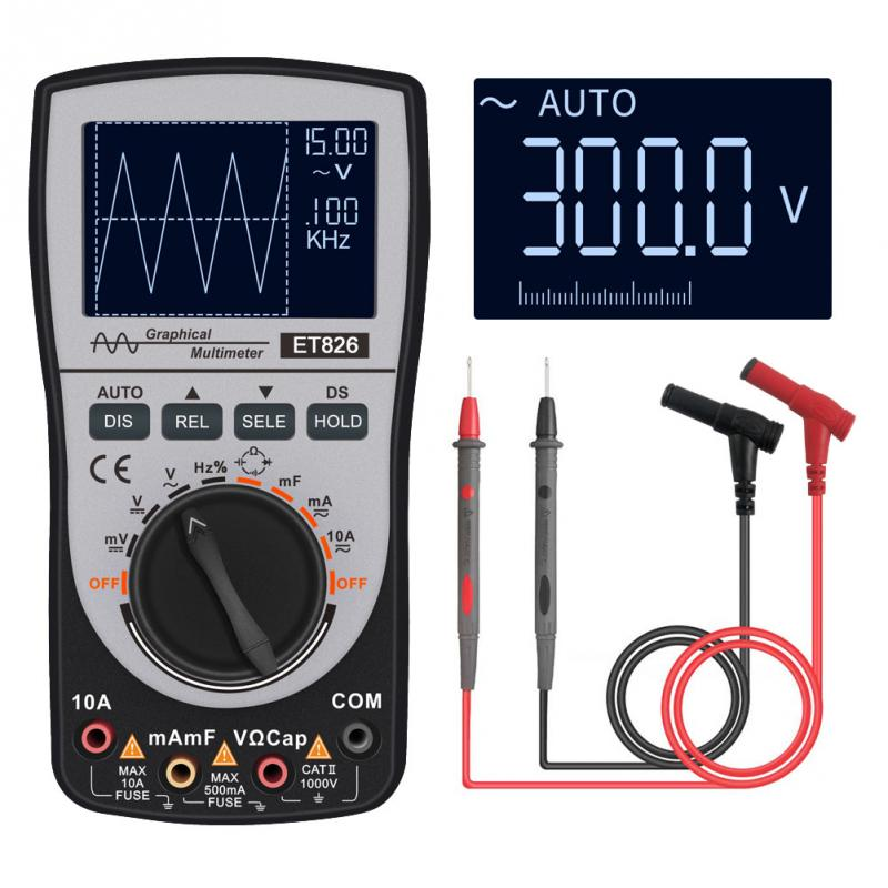 Upgraded MUSTOOL MT8206 2 in 1 Intelligent Digital Oscilloscope Multimeter with Analog Bar Graph Color Screen