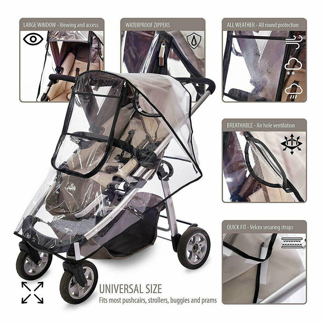 Buggy Rain Cover Universal Transparent Waterproof For Pushchair Stroller Pram