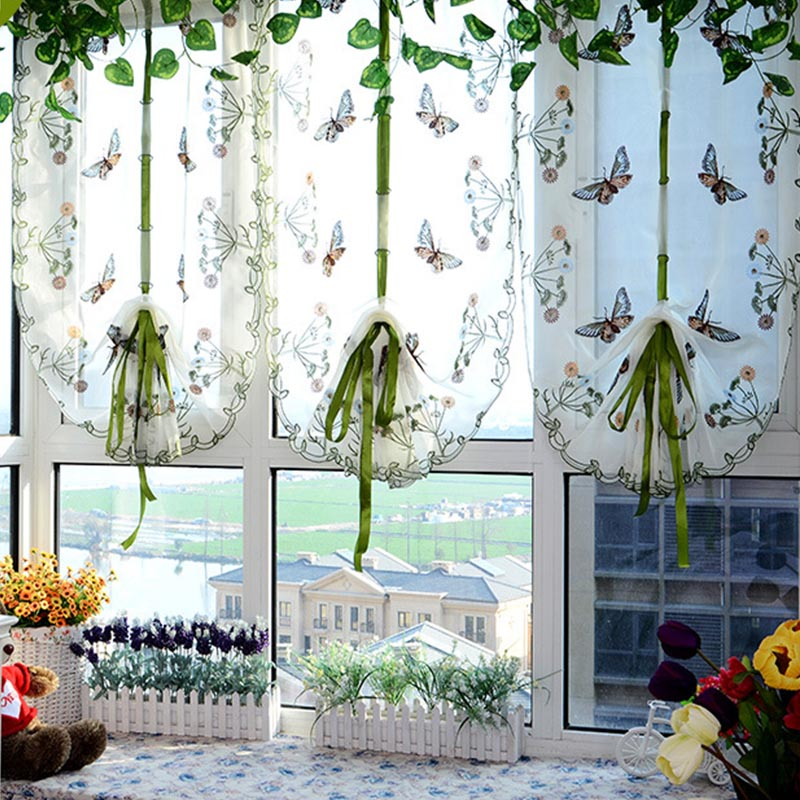 Top Finel Butterfly Kitchen Curtains Tulle for Windows Living Room Bedroom  Window Embroidered Roman Curtain Home Decoration VC