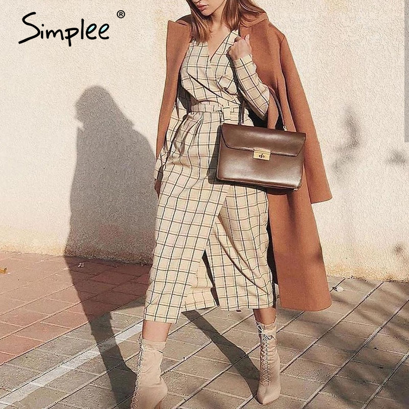 Simplee Elegant Long Sleeve Plaid Dress Sexy V-neck Strap Women Party Dress High Wiast Office Ladies Autumn Chic Work Dress 2019