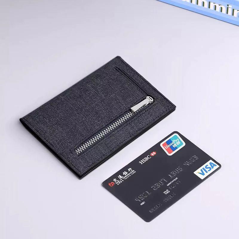 Leather Wallet Men's Handbag Leather Short Card Holder Thin Card Holder With Zip Pocket PL195220