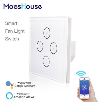 цена на WiFi Smart Ceiling Fan Light Wall Switch,Smart Life/Tuya APP Remote Various Speed Control, Compatible with Alexa and Google Home