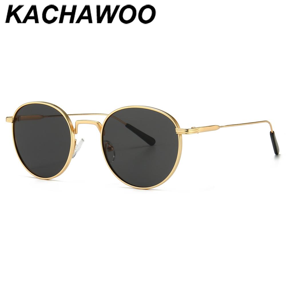 Kachawoo men's round sunglasses retro metal gold black brown classic sun glasses fashion woman accessories gifts drop ship