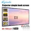Портативный проектор LEJIADA 60 72 84 100 120 150 дюймов для дома и улицы KTV 3D HD проекция складной мягкий экран