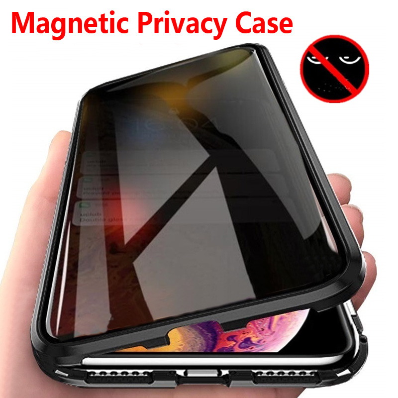 Magnetic Privacy Metal <font><b>Case</b></font> For iPhone 11 Pro Max XS Max XR X 7 8 6 6S Plus For <font><b>Samsung</b></font> S8 S9 S10 Note 10 Plus A50 <font><b>70</b></font> <font><b>Glass</b></font> image