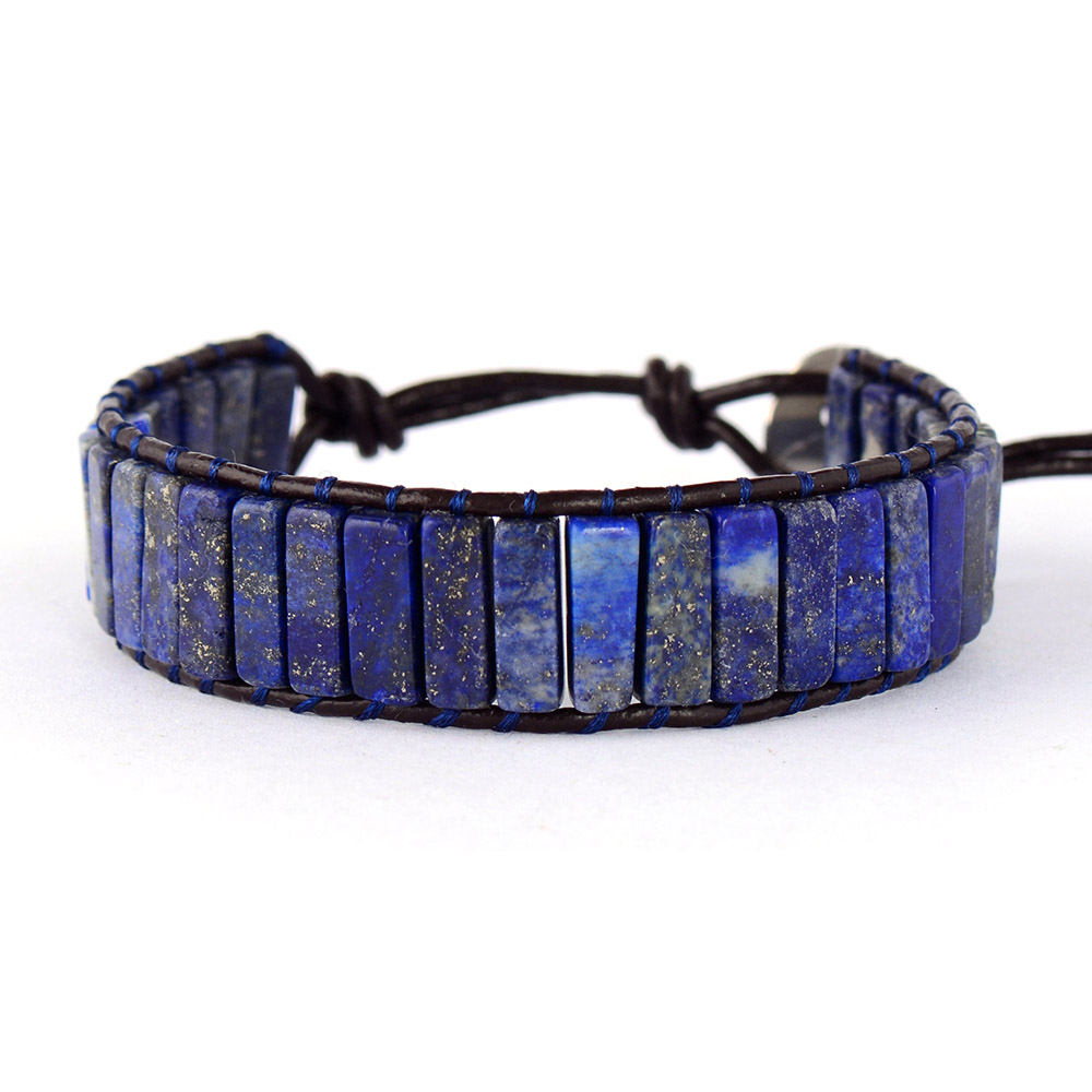 High End Tube Shape Lapis Lazuli Single Leather Wrap Bracelets Vintage Weaving Beaded Cuff Bracelet Bijoux Dropshipping(China)
