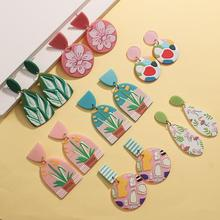 AENSOA Multicolor Graffiti Floral Pattern Simulated Polymer Clay Drop Earring Women Geometry Pink Green Hit Color Acrylic Earing