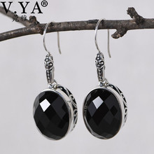 V.YA 925 Sterling Silver Drop Earrings Natural Black Agates Gem Stone Teardrop Beads Dangle Earrings Women Jewelry v ya 925 stertling silver agates water drop earrings natural stone dangle earrings women wedding party jewelry gift