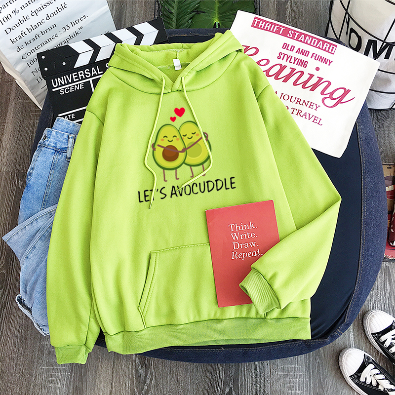 Kpop Korean Couple Hoodie Let_s Avocuddle Cute Vegetarian Avocado Couple Hoody Let_s Avocuddle Cute Vegetarian Avocado Couple -