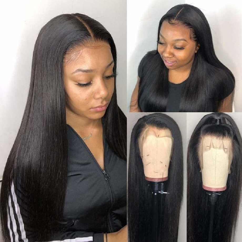 Pelucas de cabello humano Frontal de encaje, peluca recta corta de 30 pulgadas brasileña Natural Frontal, peluca completa sin pegamento hd predesplumada para mujeres negras