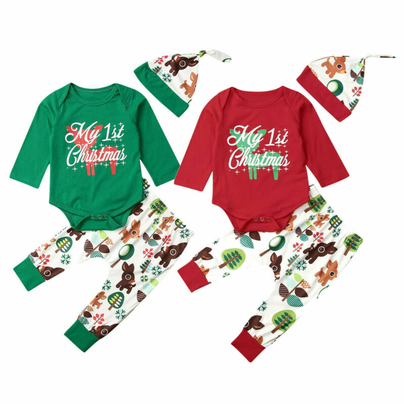 Newborn Baby Boys Girls My 1st Christmas Romper Tops Pants Hat Outfits Clothes