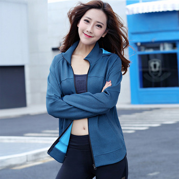 Fall/winter new lady fitness jacket hooded stretch running casual jacket breathable slim long sleeve women