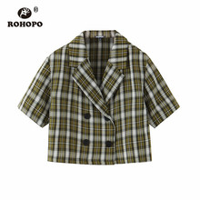 ROHOPO Button Fly Woman Striped White Green Short Crop Blazer Autumn Sleeve Plaid Notched Collar Outwear #7370