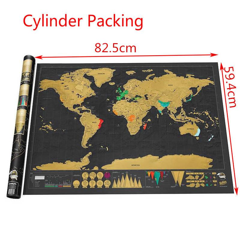 82cm*59cm Scratch Map Scratch Off World Travel Map Poster Copper Foil Sticker Personalized Journal Log Big Size With Cylinder
