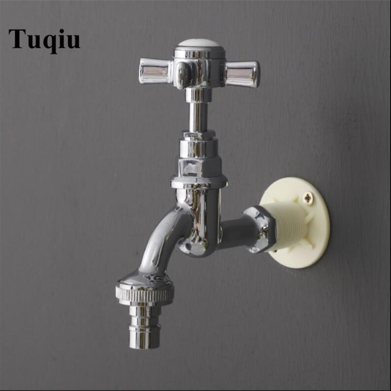Chrome brass Traditional American Style Washing machine faucet cross handle wall mounted out door faucet