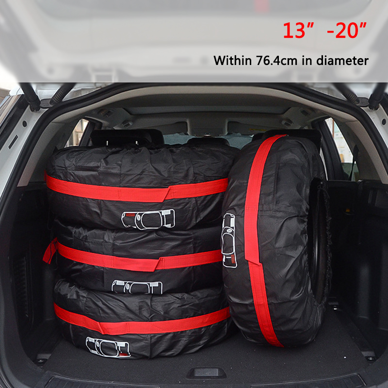 1pc/4Pcs Car Spare Tire Cover Case Polyester Auto Wheel Tires Storage Bags Vehicle Tyre Accessories Dust-proof Protector