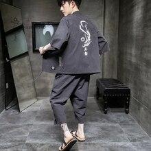 Japanese Traditional Kimono Yukata Summer Pants Two Piece Seven-point Coat Men Japan Print Shorts Cardigan Harajuku Clothes Sets