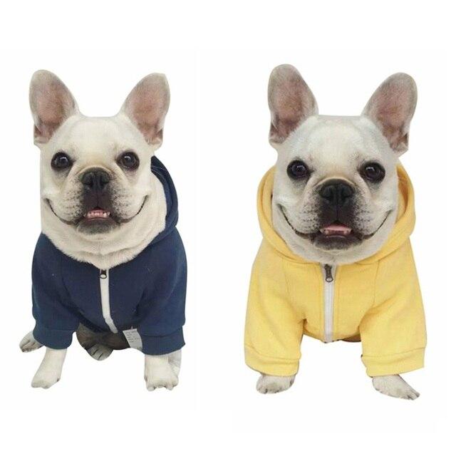 Solid Color Dog Zipper Sweater Coat Dark Blue Yellow Pet Dog Clothe Hoody Soft Cotton Dog Clothing Small Large Sizes Zipper Coat 6