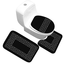 목욕 매트 3 조각 세트 클래식 패턴 화장실 커버 발 패드 미끄럼 방지 흡수성 욕실 도어 매트 플란넬 소프트 배스 러그 카펫