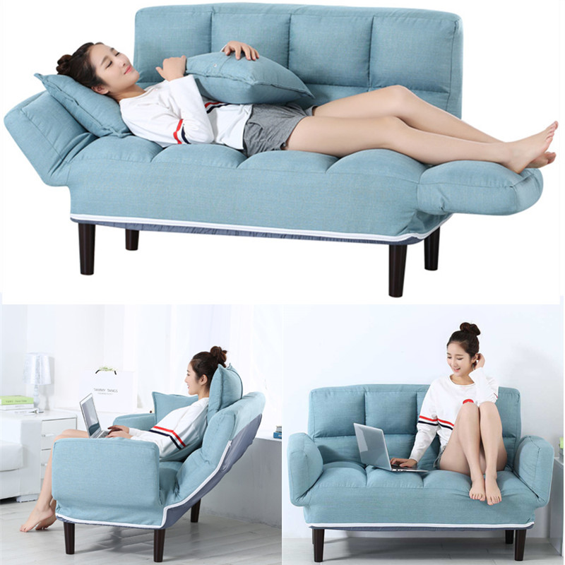 Russia Floor Sofa Bed With 2 Pillows 5 Position Adjustable Lazy Sofa Furniture Living Room Reclining Folding Sofa Couch image